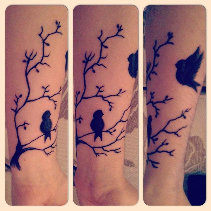 Birds on branch wrist tattoo - photo#13