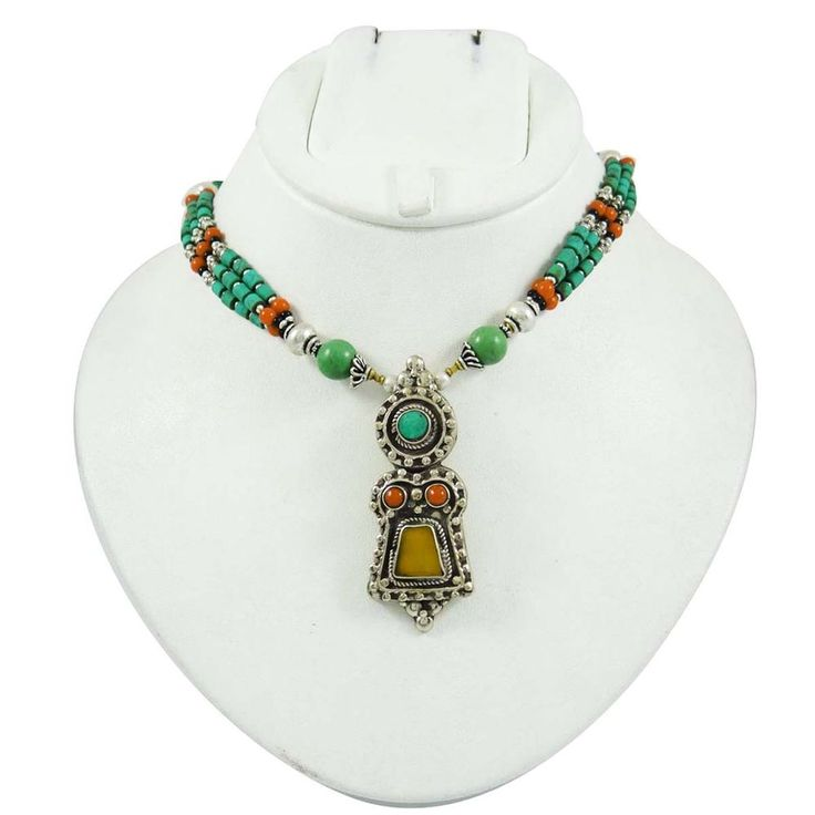 Coral Multi Stone Silver Tone Metal Ethnic Necklace Nepal Fashion Jewelry Gift #Iba