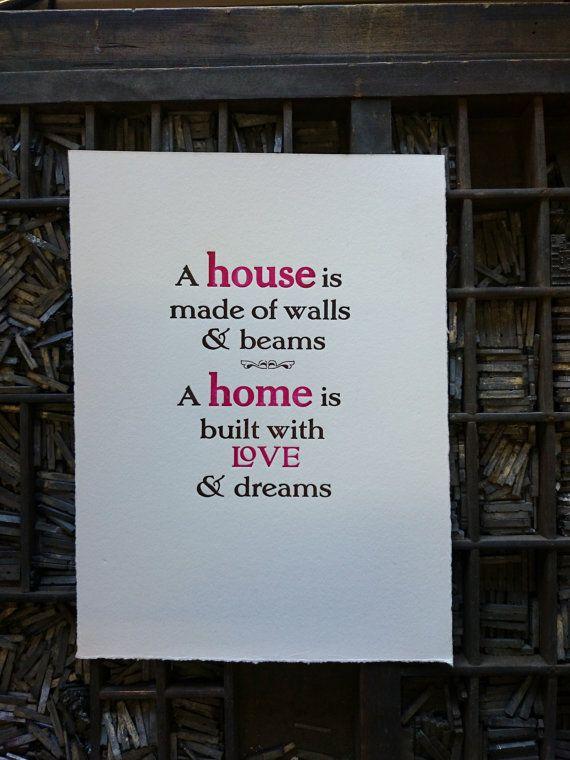 A House A Home hand printed letterpress by TheSmallprintCompany