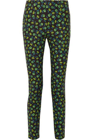 Prada - Floral-print Stretch-cotton Skinny Pants - Midnight blue - IT