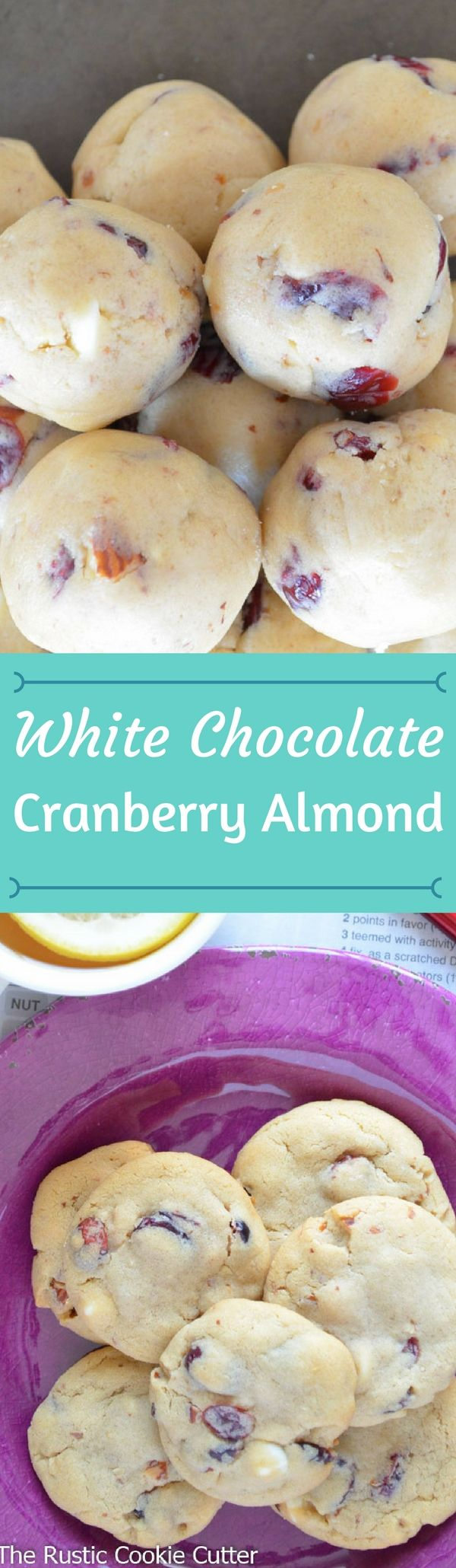 Crunchy almonds, chewy cranberries, soft white chocolate chips all wrapped in a moist cookie base!  So good!