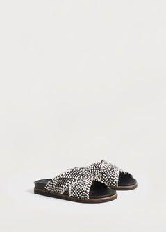 Sandales tressées cuir