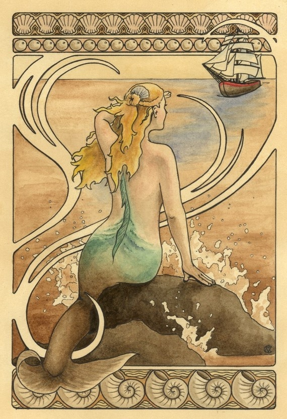 a lonely fin-wife: Sirens, Art Nouveau Colors, The Ocean, Art Nouveau Ocean, Vintage Mermaids, Mermaids Illustrations, Ships, Mermaids Art, Watercolor Prints