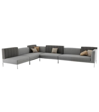 Platinum L-Shape Sofa Artificial leather stainless steel chassis  Metal: Stainless steelLeather: Grey W.403 x D.190 x H.87 MH-P-PL-SO-01 Designed by Mona Hussein