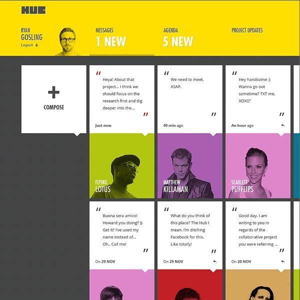 HUB by Dmitrij Paškevič | Tiles website design with flat colors