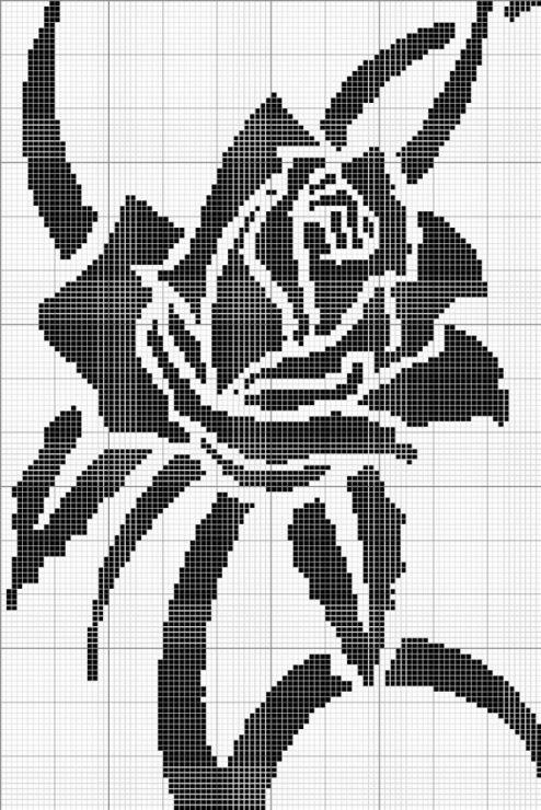 Схема вышивки черно-белой картинки