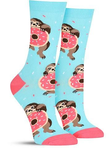 Funny sloth socks with doughnuts