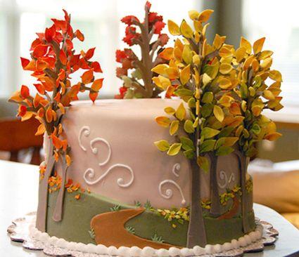 cake with autumn trees