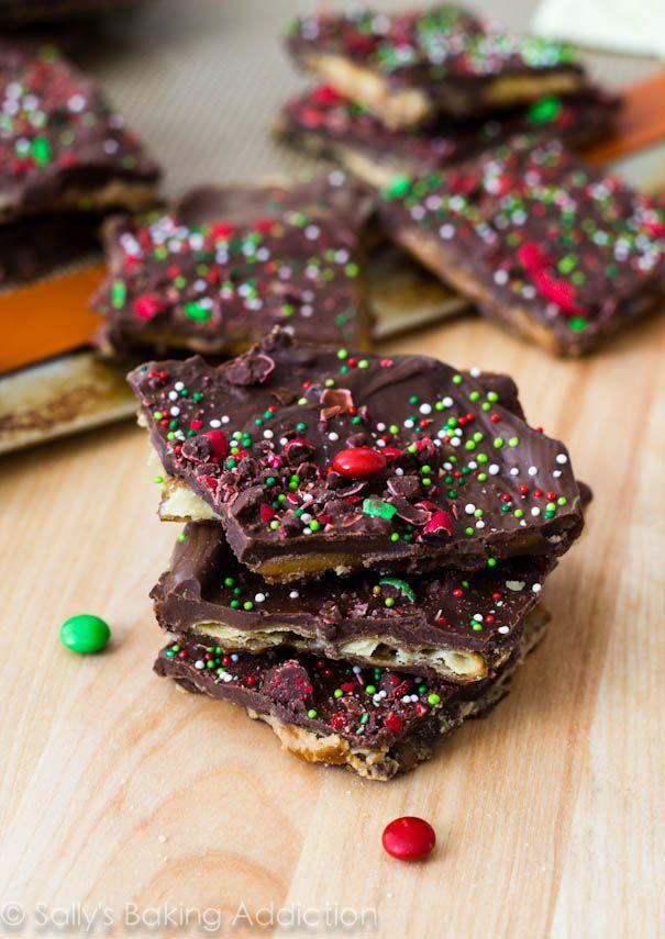 10 No Bake Treats: {shown} Chocolate Peanut Butter Saltine Toffee