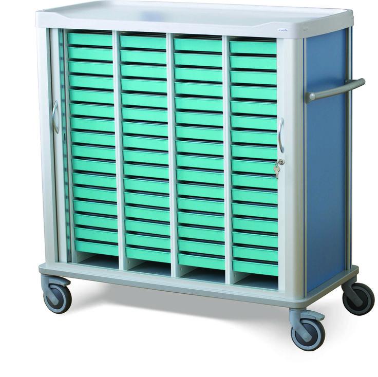 Carro de distribución de medicación para transporte de 64 bandejas de medicación BLP-3100. Paredes/guias adaptadas. 4 Ruedas, 2 con freno. 2 Puertas persianas con apertura lateral, cierre con llave (opcional cerradura digital).