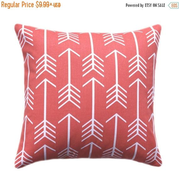 20% SALE Coral Arrow Pillow Cover, 15 SIZES, Coral Throw Pillow, Euro Sham, Cushion Cover, Arrow Coral and White Cushion Cover with Hidden Z