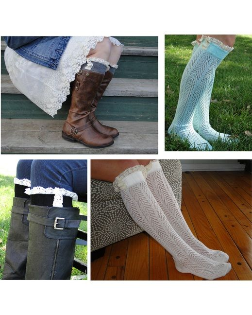 Two Pairs of Stylish Open Knit Boot Socks with Lace!   http://www.countryoutfitter.com/products/102559-womens-lace-boot-socks-2-for-gift-set