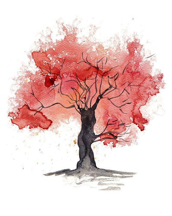 Kırmızı soyut ağaç giclee baskı suluboya kağıdı detay profesyonel fotoğraf genç kız ev dekor