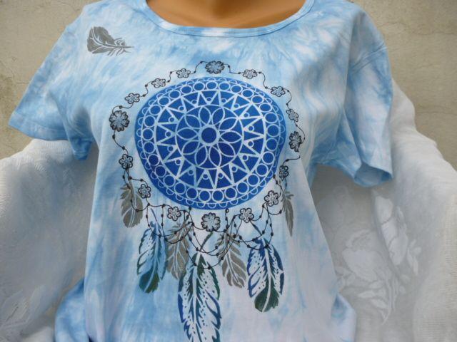 XXl+lapač+ve+sv.+modré+Originální+malované+tričko,+100%+ba,+obvod+hrudi+:+100cm,+délka+70cm+prát+i+žehlit+porubu+do+40st.