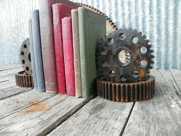 $89. My Steampunk Urban Industrial Bookend Gears are better than your bookends!