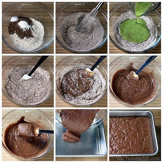 ... like this: chocolate zucchini , whole wheat flour and wheat flour