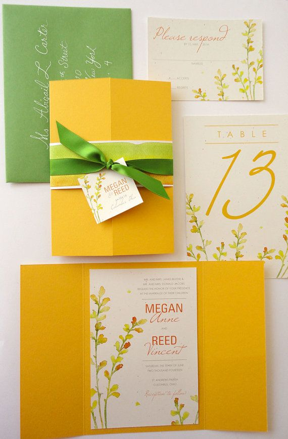 SAMPLE - Yellow and Green Baptisia Floral Gate Fold Wedding Invitation via Etsy