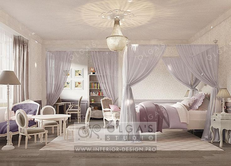 Childrens room classic design http://interior-design.pro/en/blog/lilac-girls-room-design-idea-and-picture.php