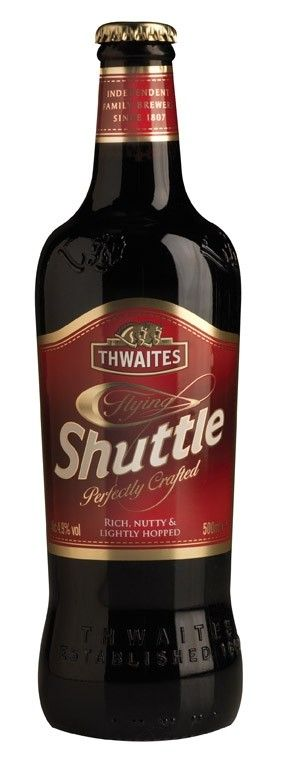 Cerveja Flying Shuttle, estilo English Brown Ale, produzida por Daniel Thwaites Brewery, Inglaterra. 4.9% ABV de álcool.