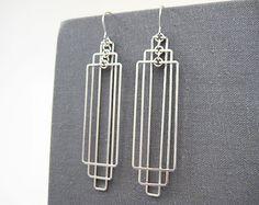 Orecchini Art Deco - rettangolo orecchini, monili d'argento geometrico, architettura regali, matrimonio moderno e minimalista - Tiered rettangoli
