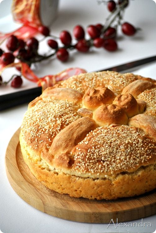 Christopsomo - or Jesus' bread - special bread baked in Greece on the day of Christmas Eve ~ Note: use translator for this web-site.