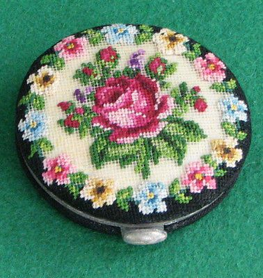 Retro Petit Point Powder Compact - never used | eBay