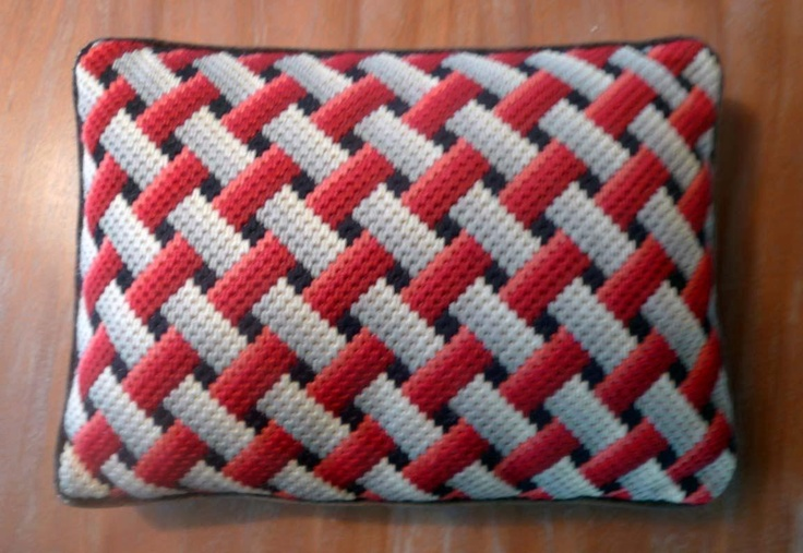 Vintage BARGELLO Pillow Red,White, Black OP-ART embroidery | eBay