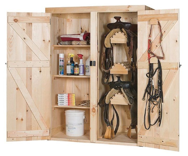 need the left side to hold harness(es)...need 3 tier saddle rack...maybe storage on the doors...and on wheels.