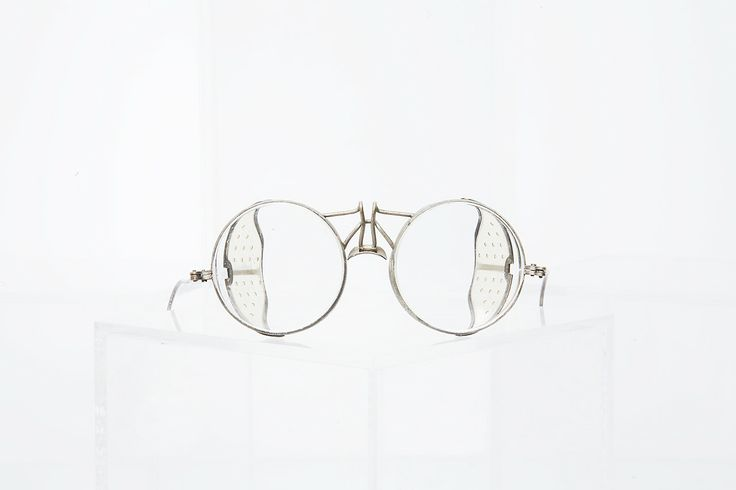 1940s stainless steel work goggles with swivel bridge from General Eyewear's historical collection.