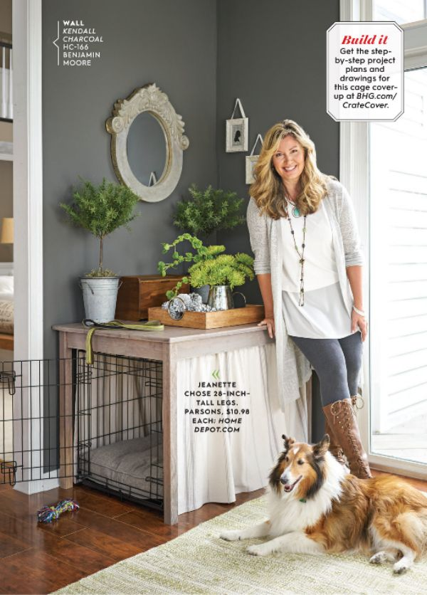Kenneling your pooch is a great idea, and they really feel safe being in their own space. I love how Jeanette beautified her dog's crate with this simple little project.