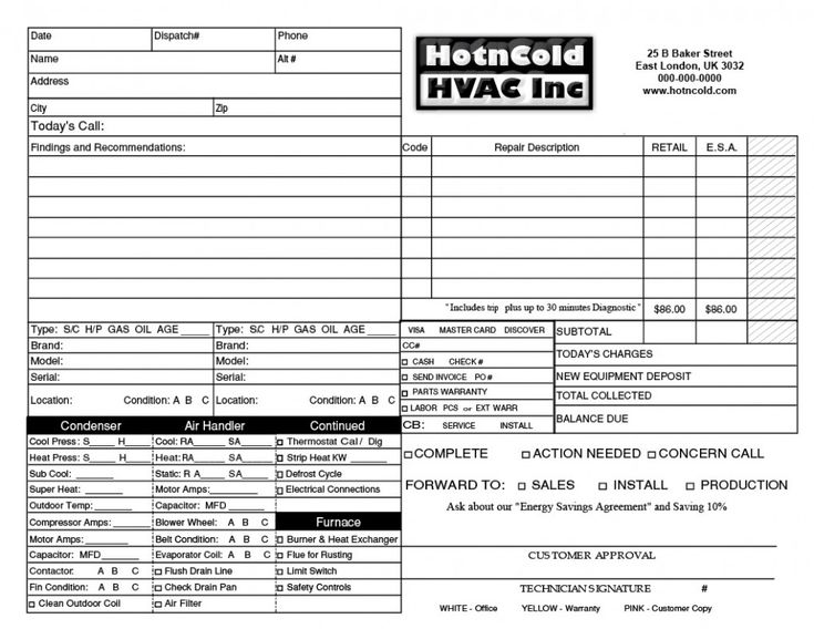 Best Hvac Forms Images On   Flat Rate Free Design