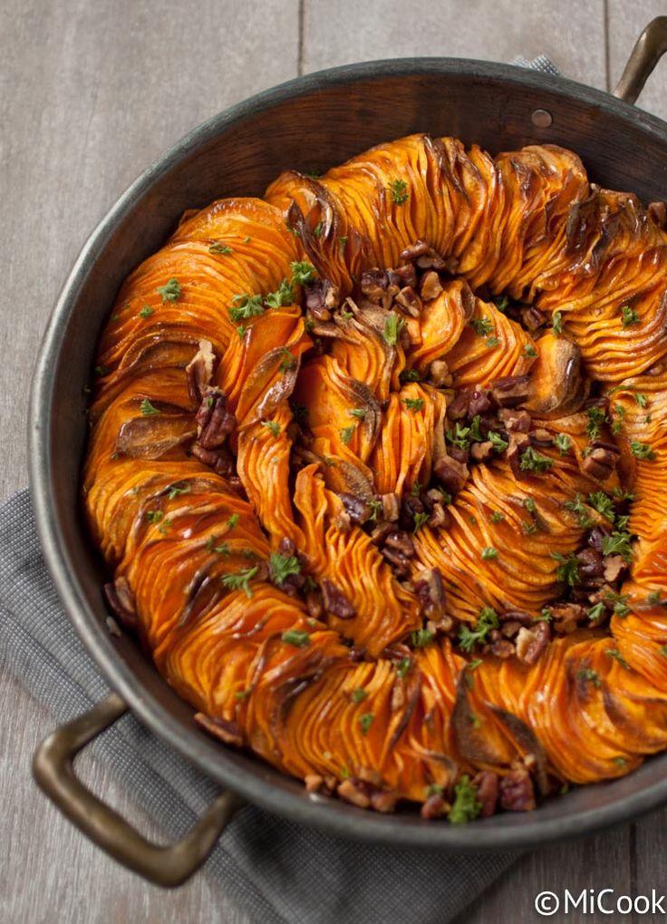 Geroosterde zoete aardappel met ahornsiroop pecannoten