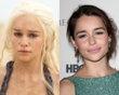 "Emilia Clarke (Daenerys Targaryen)    A brunette Emilia Clarke is nearly unrecognizable as her very blonde ""Game of Thrones"" character Daenerys Targaryen, Khaleesi of the Dothraki and the Mother of Dragons."