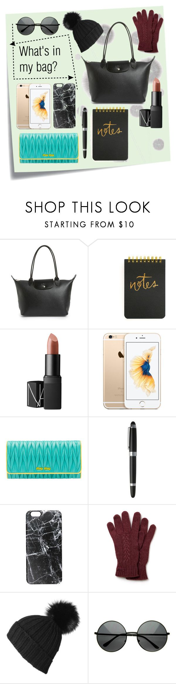 """""""What's in my bag? // TOTE //"""" by iinnkkrniawan ❤ liked on Polyvore featuring Post-It, Komar, Longchamp, NARS Cosmetics, Miu Miu, HUGO, Casetify, Lacoste, women's clothing and women's fashion"""
