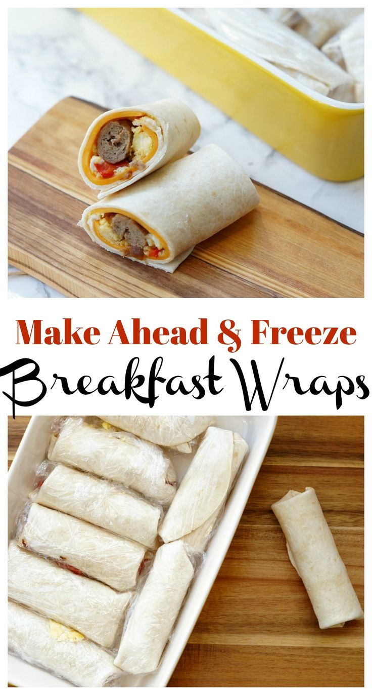Make Ahead and Freeze Breakfast Wraps are stuffed with sausage, cheese, eggs, and veggies and are the perfect fast and healthy breakfast for busy mornings!