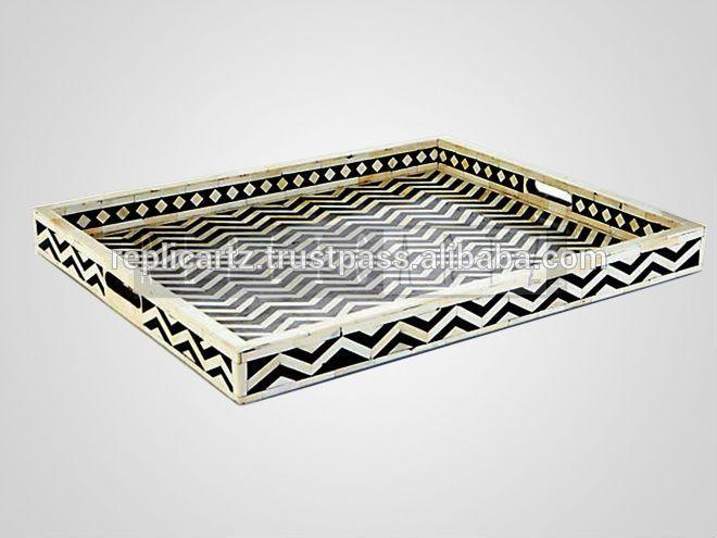 Bone inlay serving tray