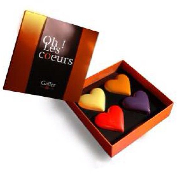 Oh! Les Cours  - A collection of 4 brightly coloured, heart-shaped chocolates - a perfect present for your special someone.