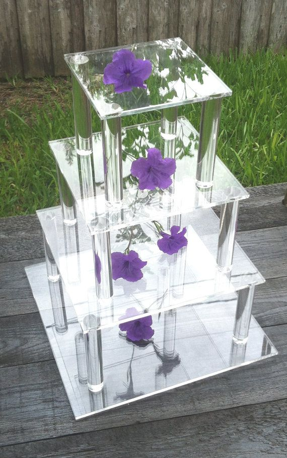 4 Tier Square Clear Acrylic Cupcake Cake Stand By