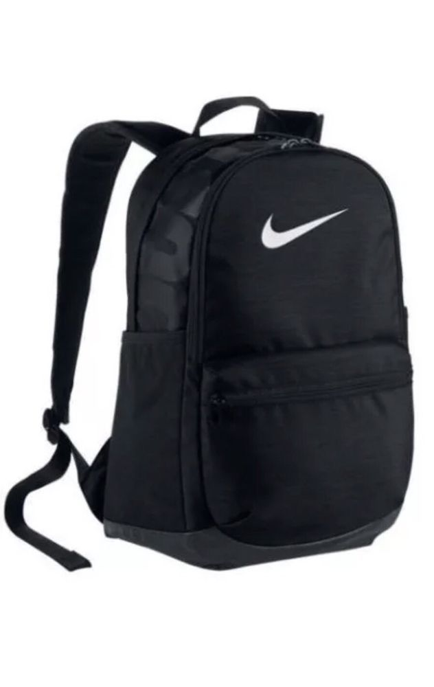 a96cf87409e58 Nike Brasilia BLACK Backpack School Laptop Bag Medium White BA5329-010 nwt