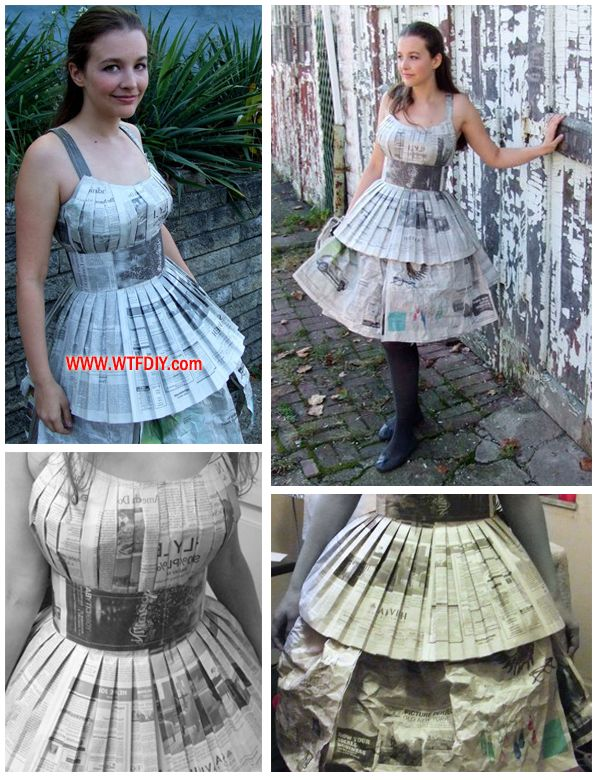 How to make Dress with Old Newspaper   WTF DIY