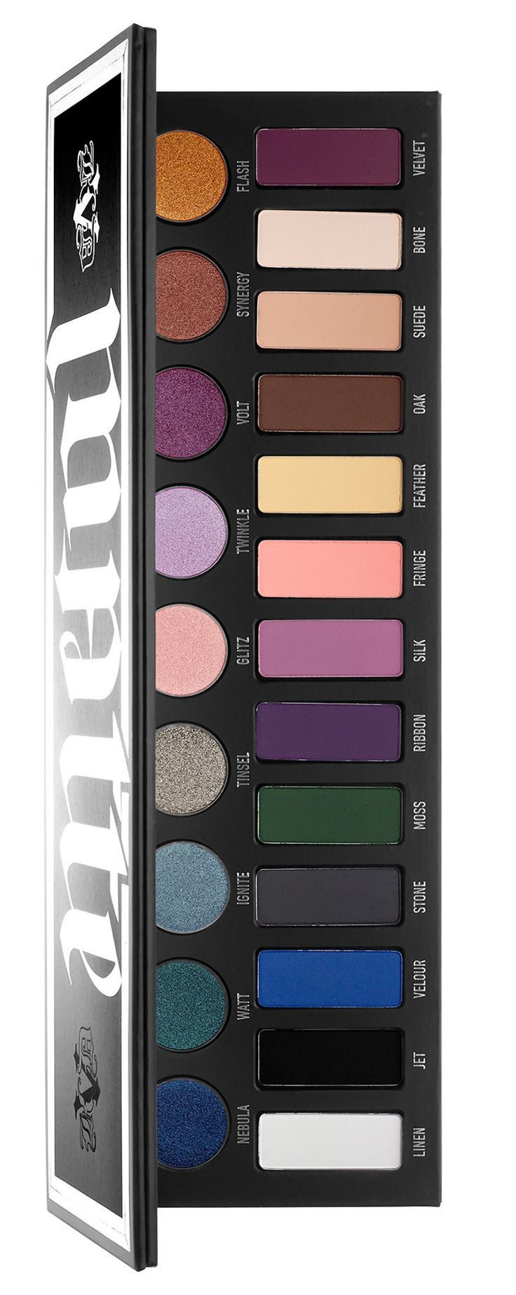 The Kat Von D MetalMatte Eyeshadow Palette ($60) is a new eyeshadow palette that's available for Holiday 2016 which includes a selection of metallic and ma. #cosmetics #makeup #beauty @ajh71815