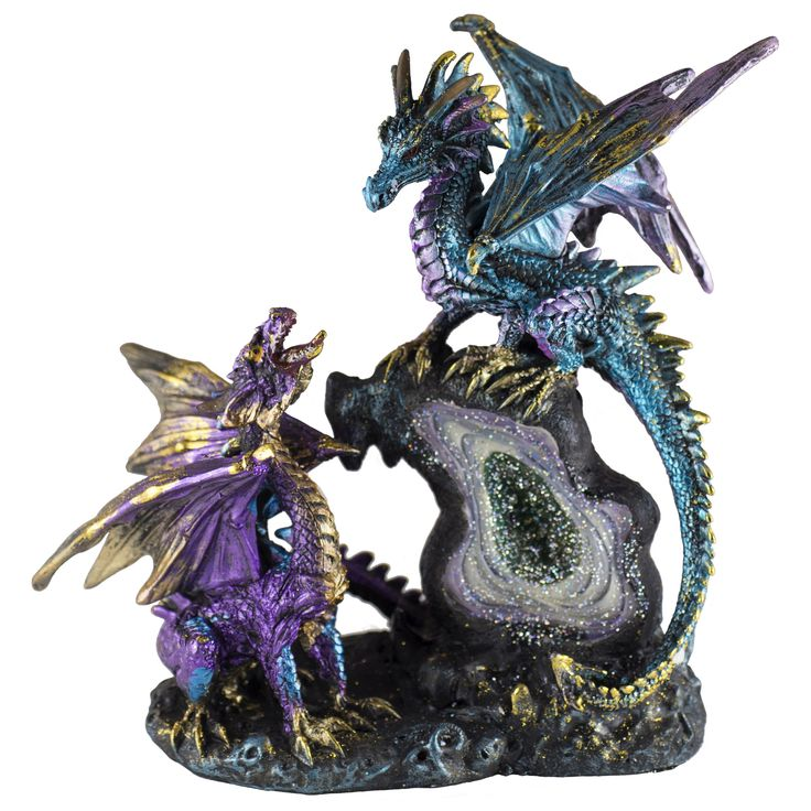 "Purple and Blue Dragons Figurine On LED Light Up Geode Rock 9""H"
