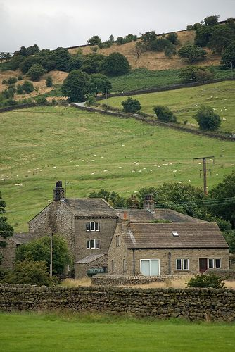 Farm buildings, near Silsden, Yorkshire Dales, England