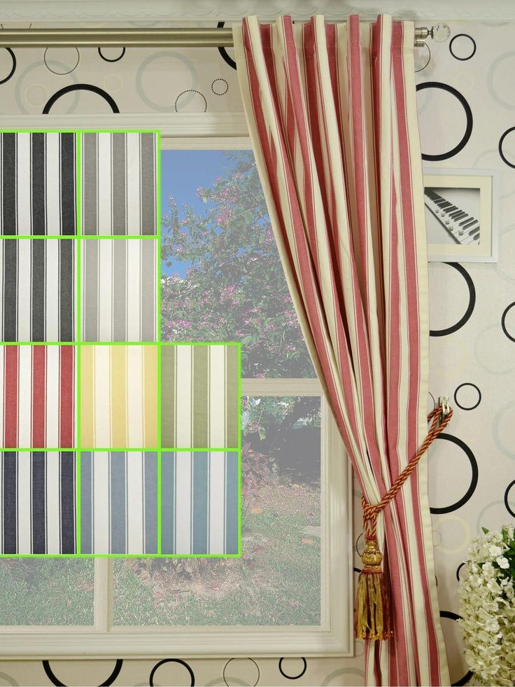 Moonbay Narrow Stripe Concealed Tab Top Cotton Curtains   Custom Curtains  Drapes Draperies Sheers Rods