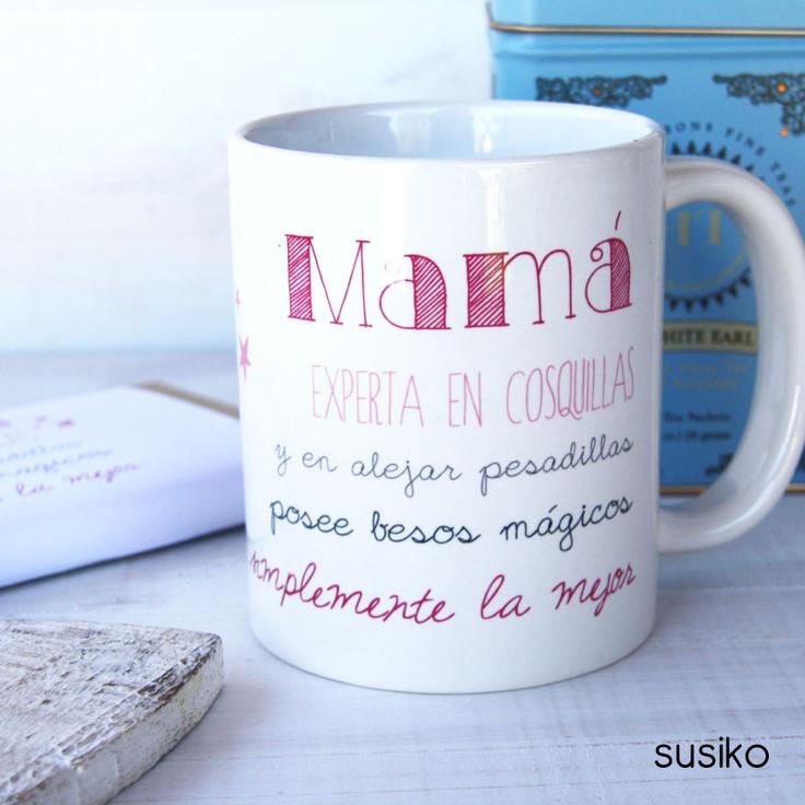 Taza con texto en un lado y la imagen de la madre en el otro, un regalo hecho con corazón