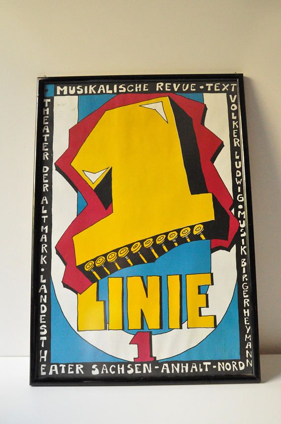 Bright and colourful, framed, poster from the musical Linie 1 dating back to the 1980s. Line 1 is a musical, which was premiered on 30 April 1986 by the Berlin Grips Theater.  Birger Heymann wrote the music with the rock band No ticket, the lyrics were composed by Volker Ludwig, the stage was designed by Mathias Fischer-Dieskau, directed by Wolfgang Kolneder. In 1988 it was successfully filmed by Reinhard Hauff.  The play was the most popular German play of its time. After the…