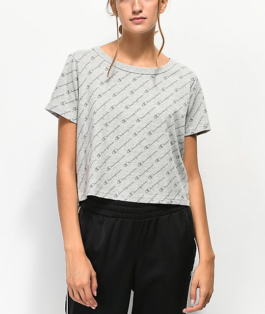 ace68b50 Champion Allover Script Heather Grey Crop T-Shirt in 2019 |
