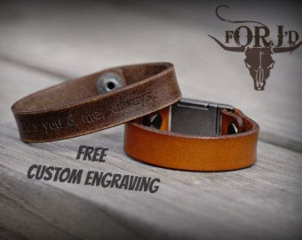 Genuine Leather Bracelet, Engraved Leather Bracelet, Men's Leather Bracelet, Women's Leather Bracelet