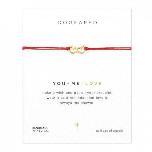 Dogeared You+Me=Love Double Heart Linen Bracelet