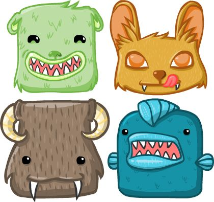 My big monsters for my @PixellesMtl game :) #Omnomnom